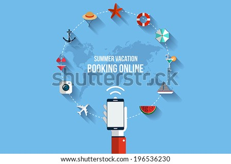 Modern vector illustration icons set of traveling,booking online, planning a summer vacation. Flat design style. Vector - stock vector