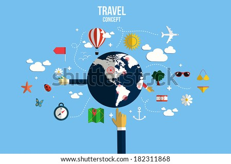 Modern vector illustration icons set of traveling, planning a summer vacation. Flat desing style. Vector - stock vector