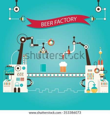 Modern vector illustration of beer industry, beer manufacturing, factory of beer