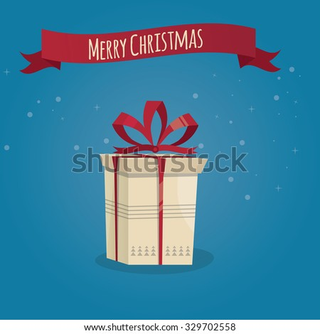 Modern vector illustration of christmas gift.  - stock vector