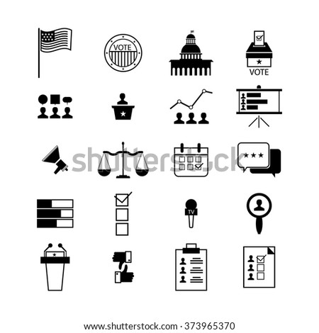 Modern vector illustration of election and voting line icons set, politics, voting and elections symbols - stock vector