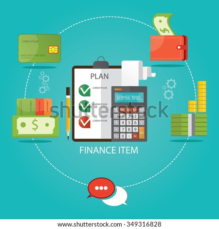 Modern vector illustration of finance items, economic instruments, money savings,  - stock vector