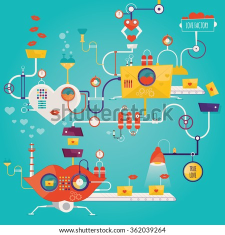 Modern vector illustration of love factory, love manufacturing, factory of valentine's, industry of love