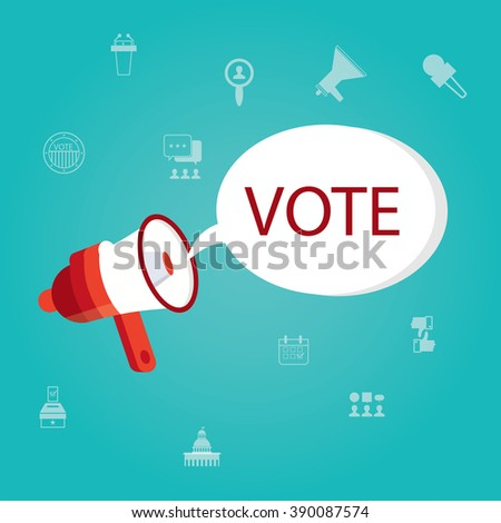 modern vector illustration of Modern vector illustration of election and voting, politics, voting and elections symbols, megaphone with vote - stock vector