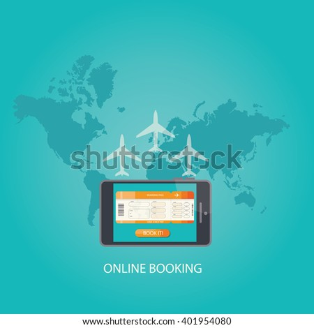 Modern vector illustration of online accommodation booking concept on modern technology device smart phone.