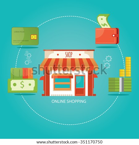 modern vector illustration of online shopping - stock vector