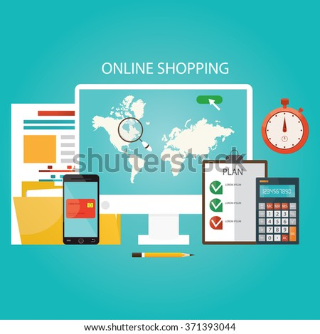 Modern vector illustration of online shopping, finance instrument.  - stock vector