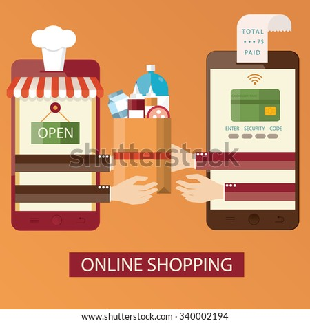 Modern vector illustration of online shopping, online food delivery - stock vector