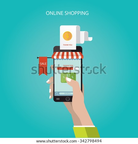 modern vector illustration of online store, online shopping - stock vector