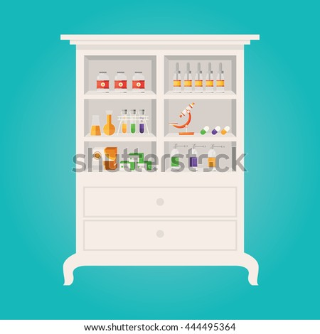 Modern vector illustration of  Pharmacy and herbalist's shop shelves with tablets pills bottles drops - stock vector