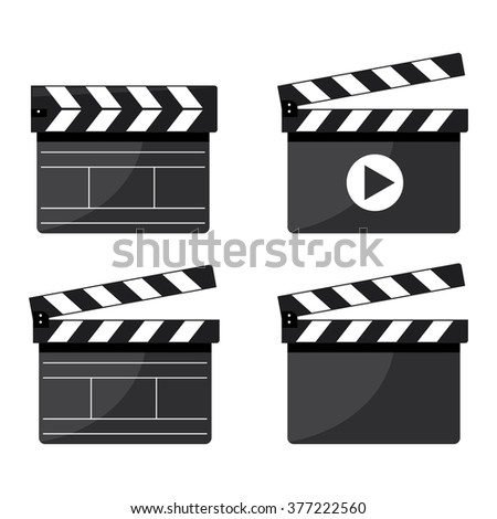 Modern vector illustration of set of cinema film clapper board icons on white background  - stock vector
