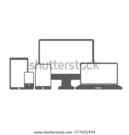 Modern vector illustration of set of digital devices icons. Monitor, laptop,smart phone, tablet p? on white background - stock vector