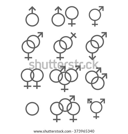 Modern vector illustration of Sexual orientation icons set. Gender and sex concept - stock vector