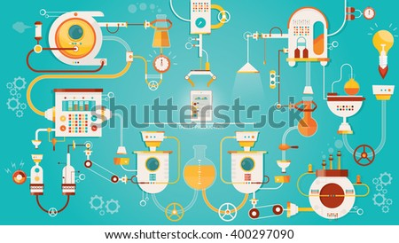 Modern vector illustration of tablet pc manufacturing, tablet pc production industry os smart phone production