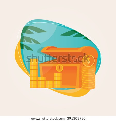 Modern vector illustration of treasure with golden coins on a beach background with palm tree - stock vector