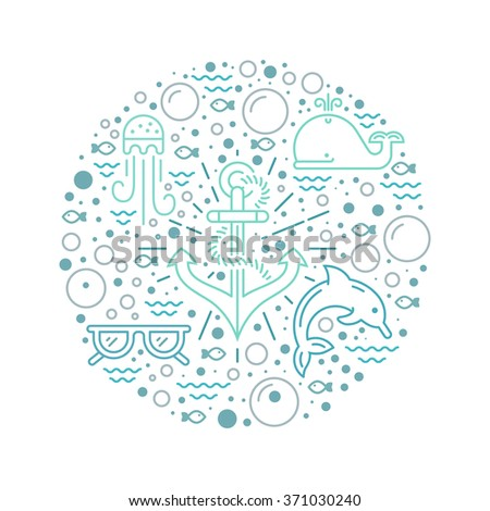 Modern vector illustration of undersea life with different sea creatures and anchor in the middle. Underwater world. Summer adventure. Graphic element for diving school, aquarium or ocean cruise.  - stock vector