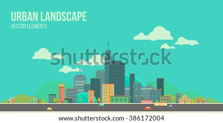 Modern vector illustration of urban landscape. Flat city. Set of buildings. Creative background. Panorama - stock vector