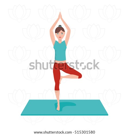 Modern vector illustration of woman exercising  yoga poses training in studio on lotus background.