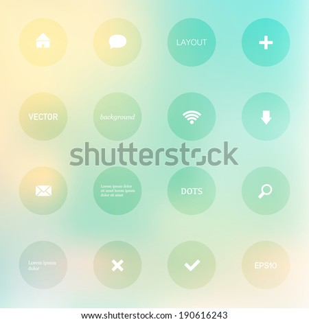 Modern vector layout. Can be used for website interface or infographic. Blurry light and subtle photographic bokeh background with dots and small icons.
