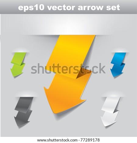 Modern vector lightning shaped arrow set in different color variations - stock vector