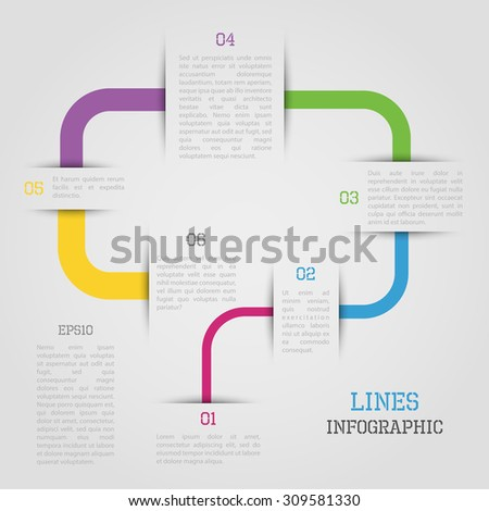Modern vector lines infographic in bright colors - stock vector