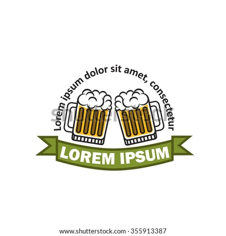 Modern vector logo for beer. Logo for beer store. Logo for the brewery. Glass of beer illustration.