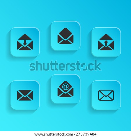 Modern vector mail envelope icons on blue buttons - stock vector