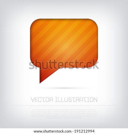 Modern vector orange speech bubble icon with bright colorful striped background. Cut out style with inner shadow. - stock vector