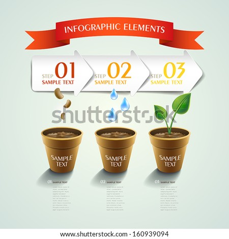 modern vector plant abstract infographic elements design - stock vector
