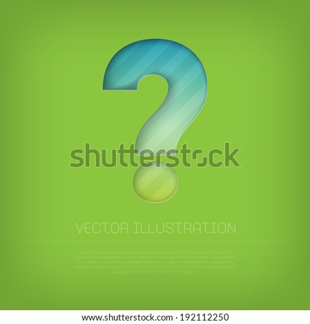 Modern vector question mark icon with bright colorful striped background. Cut out style with inner shadow.