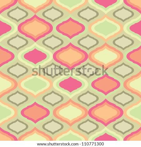 Modern vector seamless pink and green pattern - stock vector