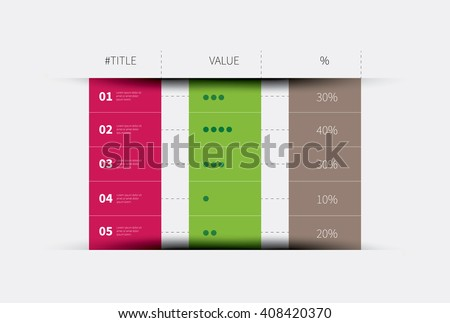 modern vector summary table with rows and columns / three columns infographic table - stock vector