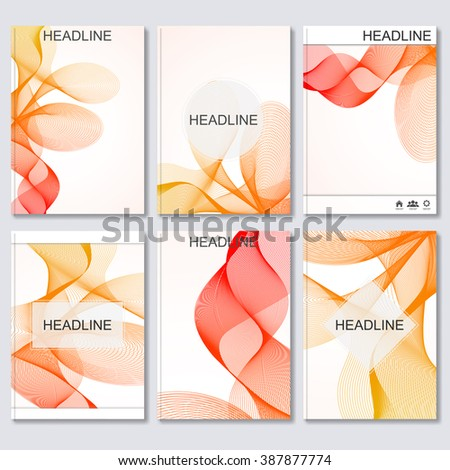 Modern vector templates for brochure, flyer, cover magazine or report in A4 size.Abstract curved lines on bright background - stock vector