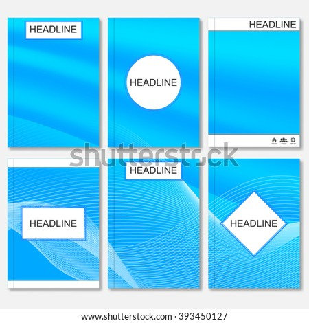 Modern vector templates for brochure, flyer, cover magazine or report in A4 size.Abstract curved lines on blue background