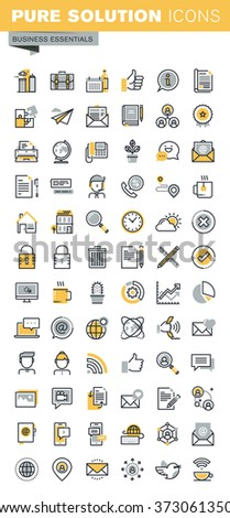 Modern vector thin line business icons collection. Set of modern vector logo pictogram and infographic design elements. Outline icon collection for website and app design. - stock vector