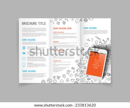 Modern Vector three fold brochure / leaflet / flyer design template with smartphone - stock vector