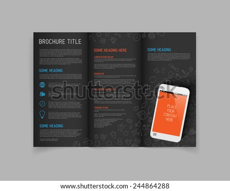 Modern Vector three fold brochure / leaflet / flyer design template with smartphone - dark version - stock vector