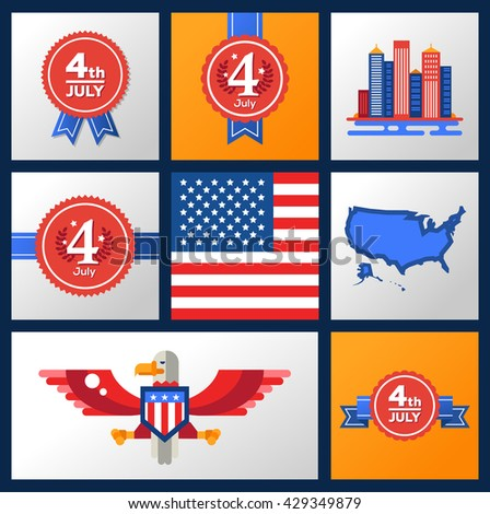 Modern Vector Usa Independence Day Badges Stock Vector Hd Royalty