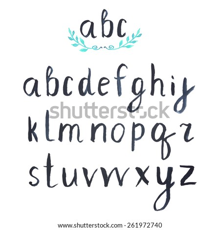 Modern Vector Watercolor Alphabet. Watercolor Font. ABC Painted Letters. Modern Brushed Lettering. Painted Alphabet. Handwritten calligraphic black watercolor alphabet - stock vector