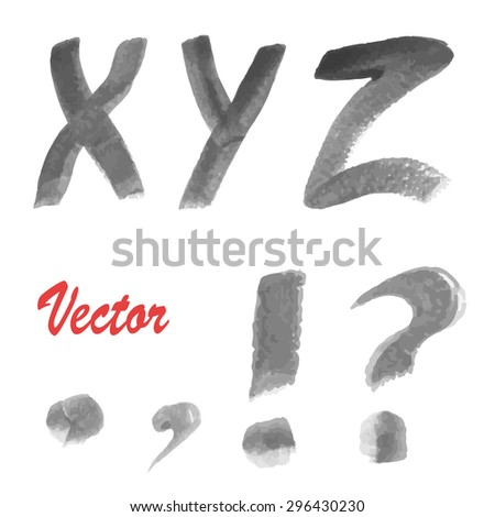 Modern Vector Watercolor Alphabet. Watercolor Font. ABC Painted Letters. Modern Brushed Lettering. Painted Alphabet.
