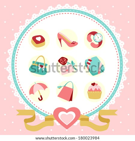 modern vector women accessories icon set with pink background - stock vector