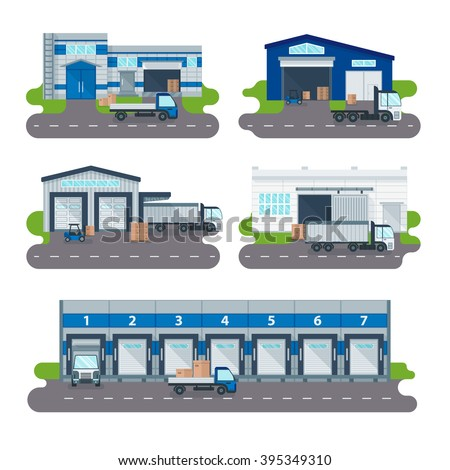 Modern warehouse logistics delivery of goods transportation and warehouse logistics delivery operator shop. Logistics collection warehouse delivery center, loading trucks, forklifts workers vector. - stock vector