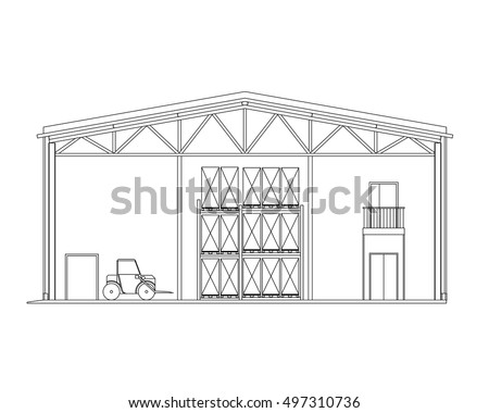 Modern warehouse forklift crosssection storage vector stock vector modern warehouse with forklift cross section storage vector blueprint architectural background malvernweather Images