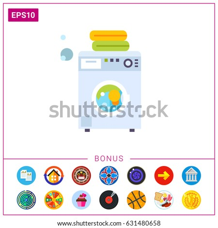 Modern Washing Machine with Linen Icon