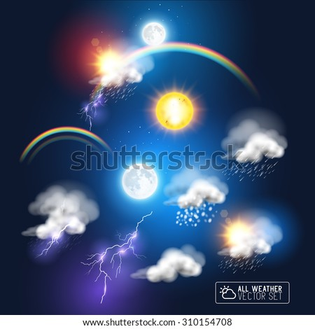 Modern Weather symbols, including a rainbow, storm clouds sun and moon. Vector illustration. - stock vector