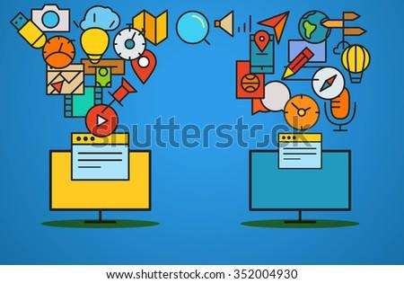 Modern web commerce illustration. Flat design  - stock vector