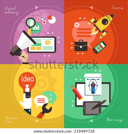 Modern web concepts set flat vector digital marketing, start up, dusiness idea, web design. - stock vector