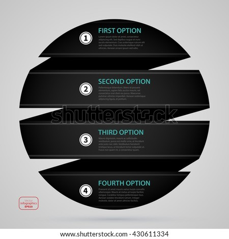 Modern web design sphere template with four options made of black paper stripe. Strict corporate business style. Useful for annual reports, presentations and media. - stock vector