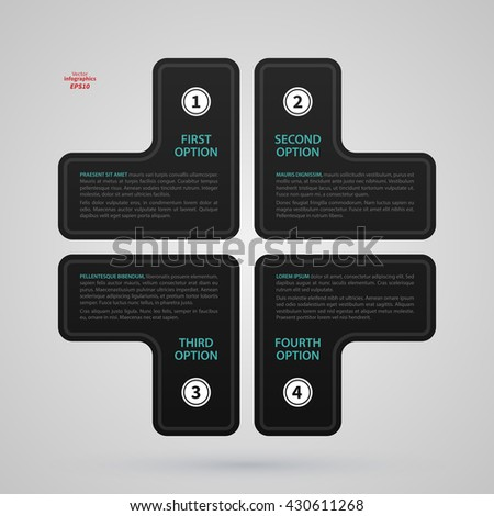 Modern web design template with cross made of four options. Strict corporate business style. Useful for annual reports, presentations and media. - stock vector