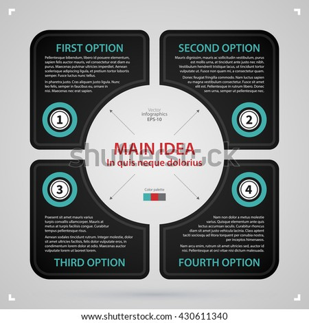 Modern web design template with square made of four options. Strict corporate business style. Useful for annual reports, presentations and media. - stock vector